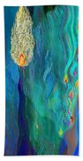 Watery Abstract Xviii - Women And Candles Beach Sheet