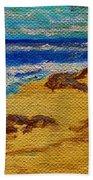 Waves On A Rocky Beach Beach Towel