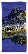 Wetlands Gator Close-up Beach Towel by Tom Claud
