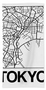 White Map Of Tokyo Beach Towel
