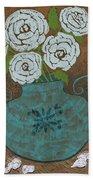 White Roses In Teal Vase Beach Towel