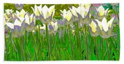 White Tulips Beach Sheet