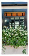 Window Full Of Flowers Beach Towel