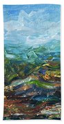 Windy Day In The Grassland. Original Oil Painting Impressionist Landscape. Beach Towel