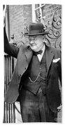Winston Churchill Showing The V Sign Beach Sheet