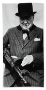 Winston Churchill With Tommy Gun Beach Towel