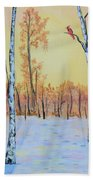 Winter Birches-cardinal Right Beach Towel