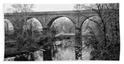 Wissahickon Creek - Reading Viaduct In Black And White Beach Towel