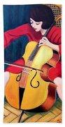 Woman Playing Cello - Bereny Robert Study Beach Towel