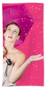 Woman With Umbrella Beach Towel