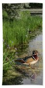 Wood Duck And Iris Beach Towel by Patti Deters