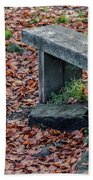 Wooden Autumn Bench Beach Towel by Scott Lyons