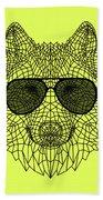 Woolf In Black Glasses Beach Towel