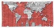 World Map Landmarks Skyline 3 Beach Towel