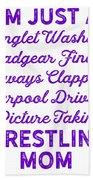 Wrestling Singlet Washin Mom Purple Gift Dark Beach Towel