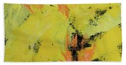 Yellow Blooms Coral Accents Beach Towel