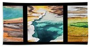 Yellowstone Hot Springs Triptych Beach Sheet