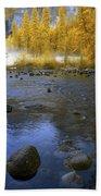 Yosemite River In Yellow Beach Towel