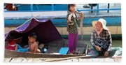 Young Girl With Snake 2, Cambodia Beach Towel