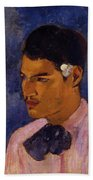 Young Man With A Flower Behind His Ear 1891 Beach Towel