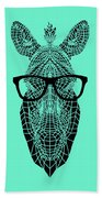 Zebra In Glasses Beach Towel