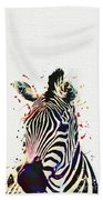 Zebra Watercolor Painting Beach Towel