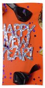 Happy New Year Party Decorations Beach Towel for Sale by ...