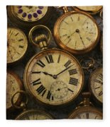 Aged Pocket Watches Fleece Blanket