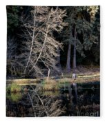Alder Tree Reflection In Pond Fleece Blanket
