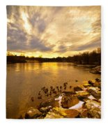 Androscoggin River Between Lewiston And Auburn Fleece Blanket