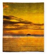Autumn Sunset Over Ailsa Craig Fleece Blanket