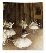 Ballet Rehearsal On Stage Fleece Blanket