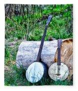 Banjos At The Woodpile Fleece Blanket