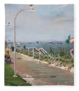 Beach Border Walk In Norfolk Va Fleece Blanket