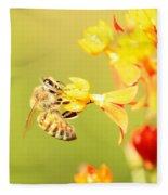 Bee On Milkweed Fleece Blanket
