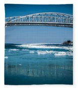 Blue Water Bridges With Reflection And Ice Flow Fleece Blanket
