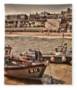 Boats At Broadstairs Fleece Blanket