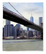 Nyc Skyline-brooklyn Bridge Fleece Blanket