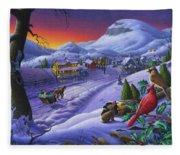 Christmas Sleigh Ride Winter Landscape Oil Painting - Cardinals Country Farm - Small Town Folk Art Fleece Blanket