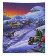 Christmas Sleigh Ride Winter Landscape Oil Painting - Cardinals Country Farm - Small Town Folk Art Fleece Blanket