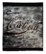 Coca Cola Sign Grungy Red Retro Style Fleece Blanket