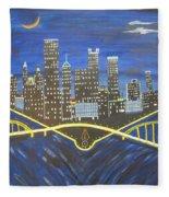 Crescent Over Pittsburgh  Fleece Blanket