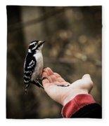 Downy Woodpecker In Hand Fleece Blanket
