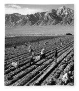 Farm Workers And Mount Williamson Fleece Blanket