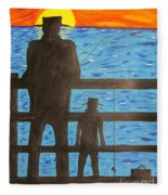 Father And Son Fishing Fleece Blanket