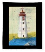 Faulkner Island Lighthouse Ct Nautical Chart Map Art Fleece Blanket