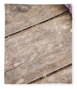 Flower Frame On On Wood Background Fleece Blanket
