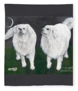 Great Pyrenees Dogs Night Sky Cathy Peek Animal Art Fleece Blanket