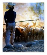 Herder Going Home In Mexico Fleece Blanket