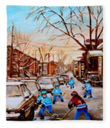 Hockey Art- Verdun Street Scene - Paintings Of Montreal Fleece Blanket